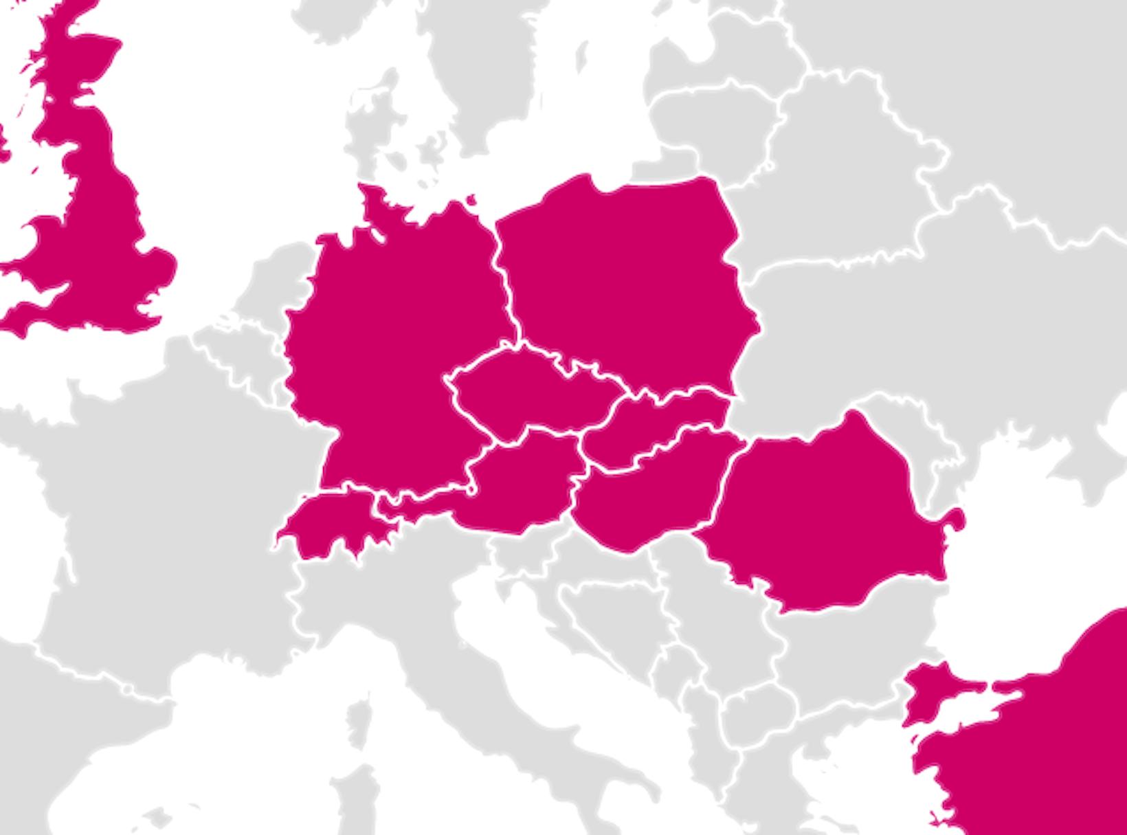 Mapa Evropy - Země, ve kterých jsem trénoval.